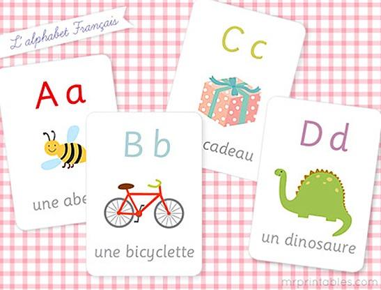 French Alphabet Flash Cards