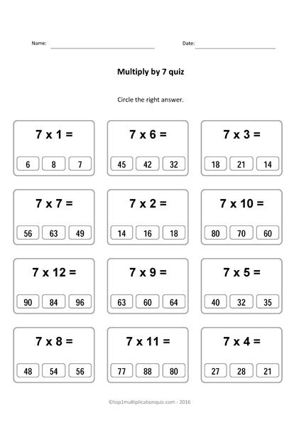 Multiply 7 Multiplication Quiz X7 Pdf Worksheets Test