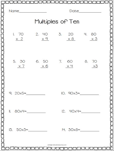 Multiplying By Multiples Of 10 Worksheet Multiples Of Ten Freebie