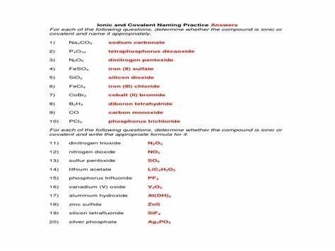 Covalent Naming Worksheet