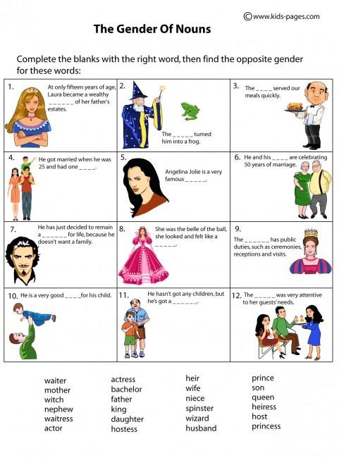 Nouns Gender Worksheet