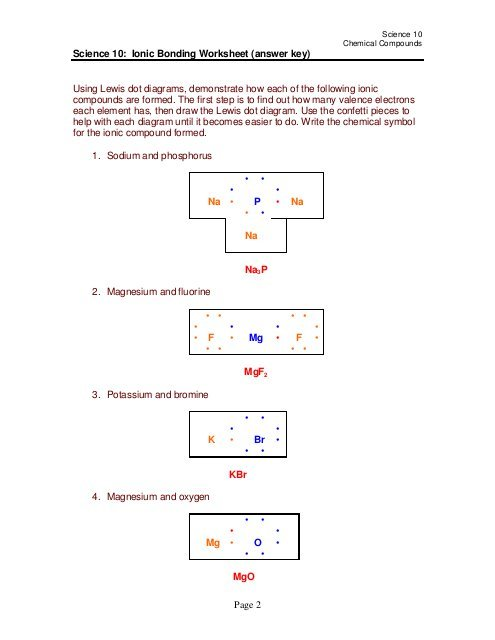 Page 2 Science 10  Ionic Bonding Worksheet (answer Key) Using