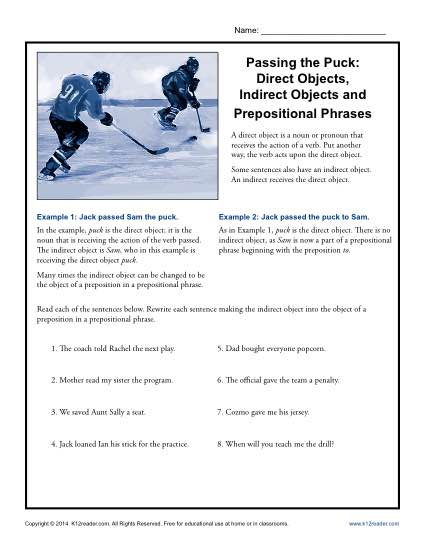 Passing The Puck Direct Objects Direct And Indirect Objects