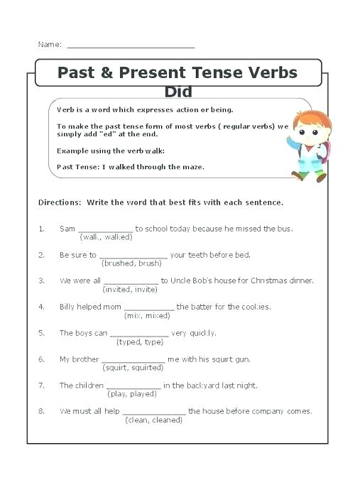 Past Present And Future Tense Worksheets For First Grade Verb Past