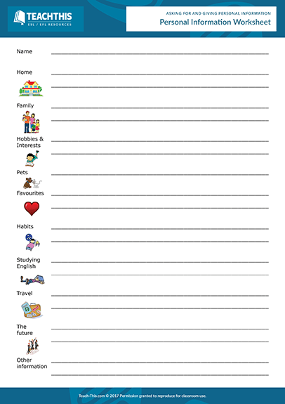 Giving Personal Information Esl Activities Worksheets Games