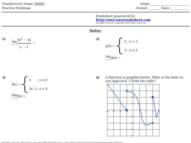 Piecewise Functions Worksheet