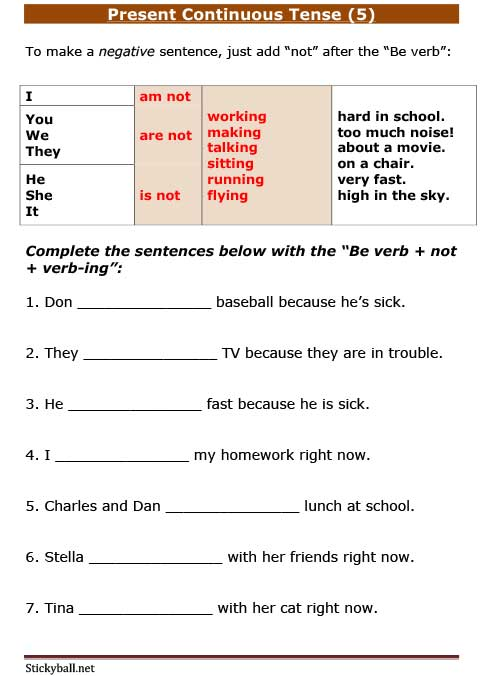 Esl Grammar  Present Continuous Tense (5)