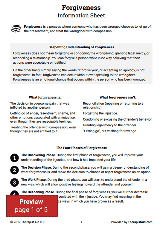Forgiveness Therapy (worksheet)