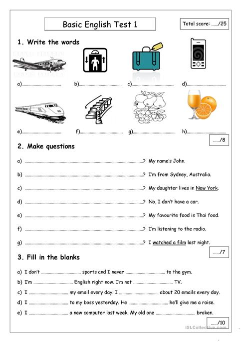 Amazing Beginner English Test Worksheet Free Esl Printable