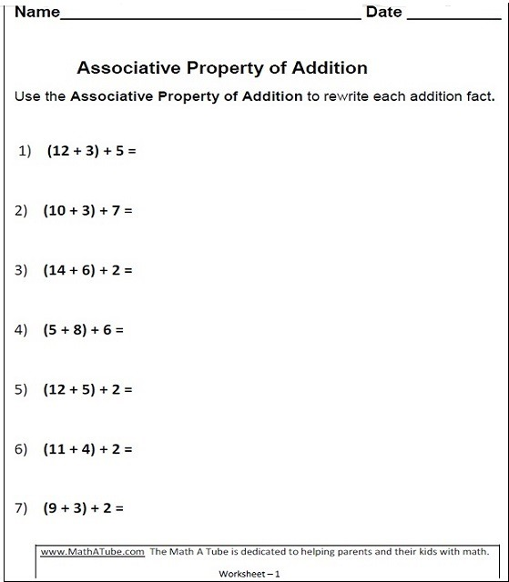 Properties Of Addition Worksheets Associative Commutative Property