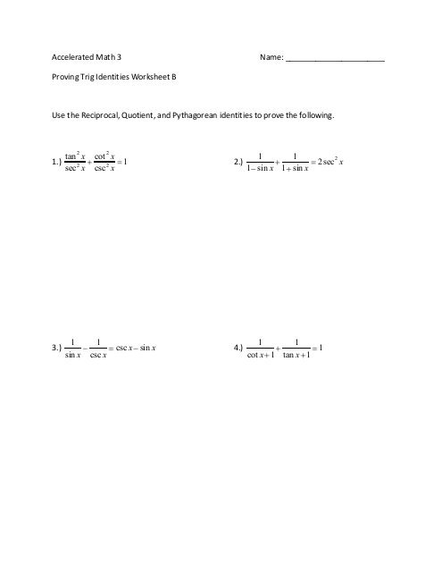 Proving Trig Identities Worksheet B Use The Reciprocal, Quotient