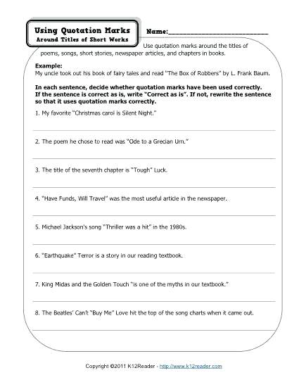 Quotation Marks Free Printable Punctuation Worksheets For Teachers