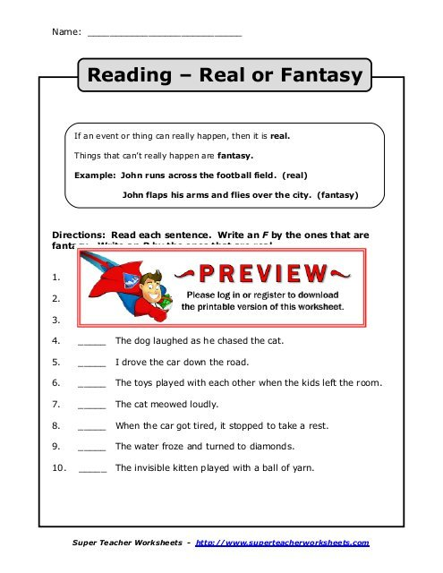 Reading – Real Or Fantasy Did