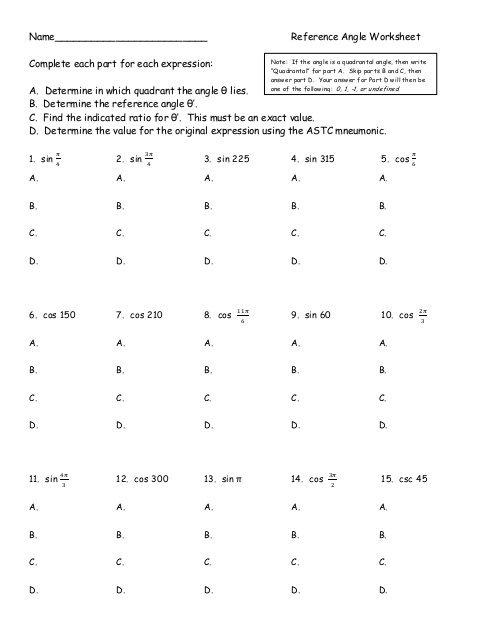 Reference Angle Worksheet Pdf