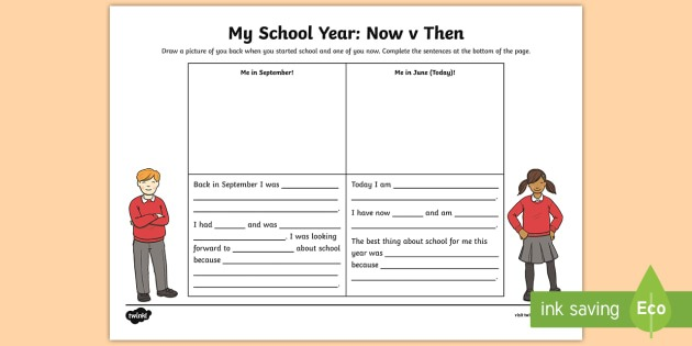 My School Year Writing Worksheet   Activity Sheet