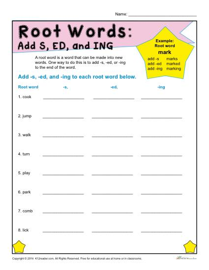 Printable Root Words Worksheets