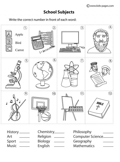 School Subjects Matching B&w Worksheet