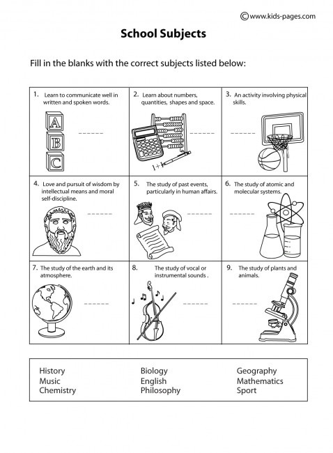 School Subjects B&w Worksheet