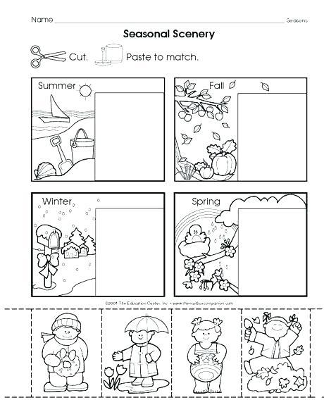 Seasons Worksheets For Kindergarten Seasons Worksheets For