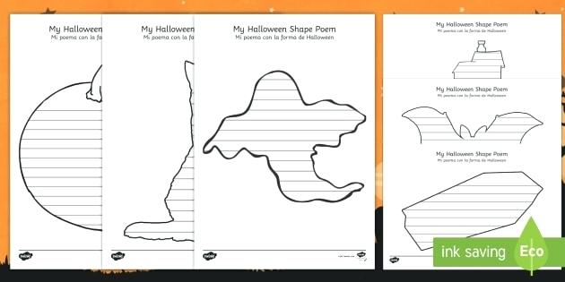 Shape Poetry Template Spanish Halloween Worksheets Vocabulary