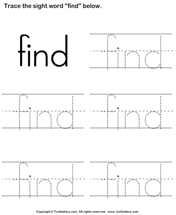 Sight Word Find Tracing Sheet Worksheet