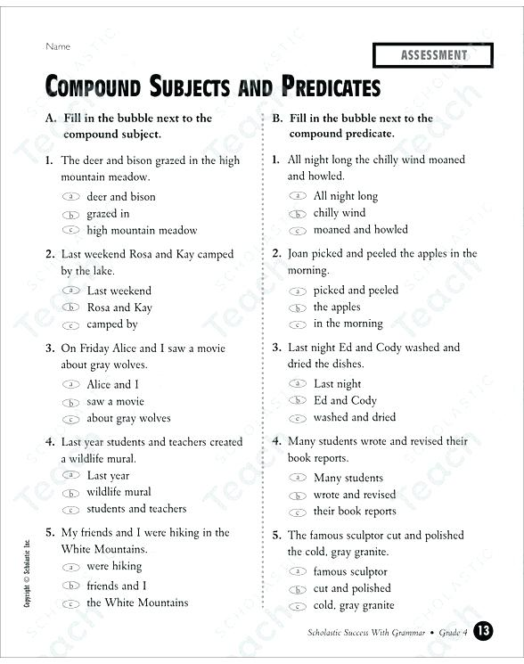 Simple Subject Predicate Worksheets Complete Subject And Predicate