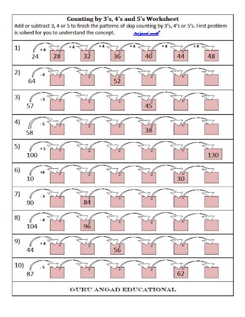 3rd Grade Math  Skip Counting Worksheets