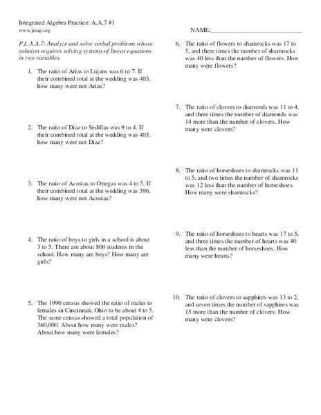 Solving Systems Of Equations Word Problems Worksheet