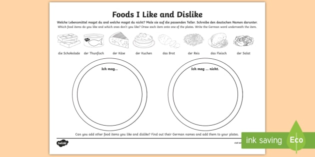 Food Likes And Dislikes Worksheet   Worksheet German