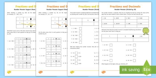 Dividing By 10 And 100 Worksheet   Worksheet