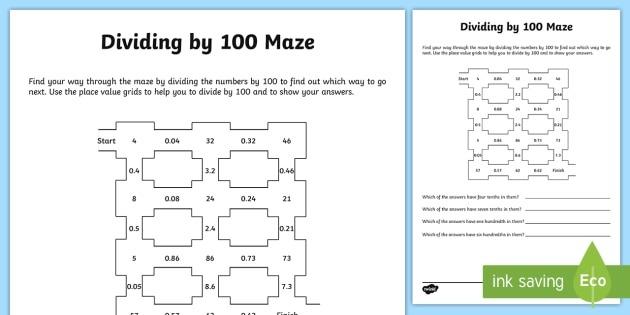 Dividing By 100 Worksheet   Worksheet