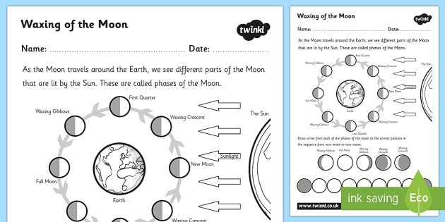 Waxing Of The Moon Worksheet   Worksheet