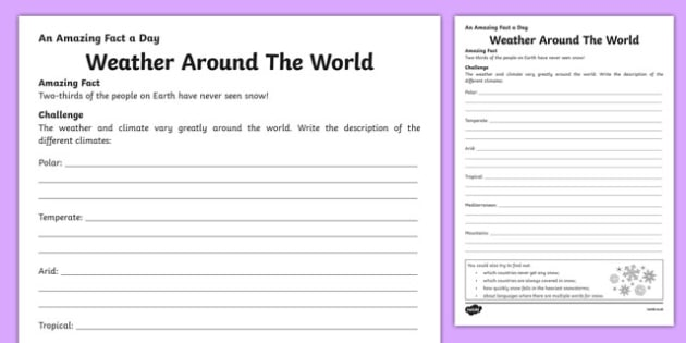 Weather Around The World Worksheet   Worksheet, Worksheet