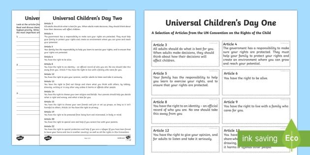 Ks2 Universal Children's Day Worksheet   Worksheets