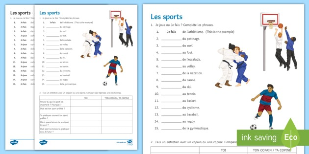 Sports Worksheet   Worksheet French