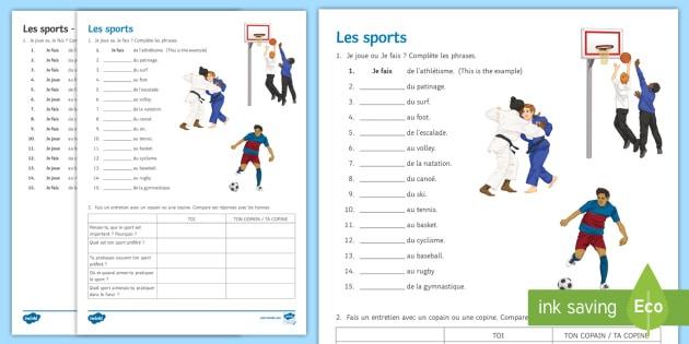 Sports Worksheet   Worksheet French