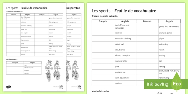 Sports Translation Worksheet   Worksheet French