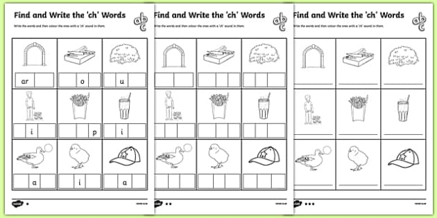 Find And Write The Ch Words Differentiated Worksheet   Worksheet Pack