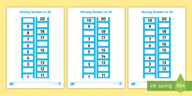 Count Backwards From 20 Missing Number Worksheet   Worksheets