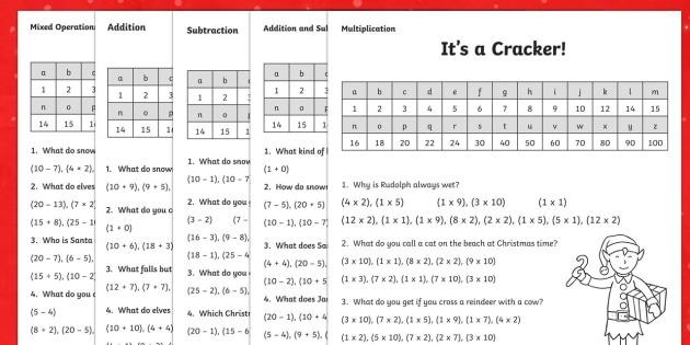 Ks1 Christmas Jokes Maths Worksheet   Worksheet Pack