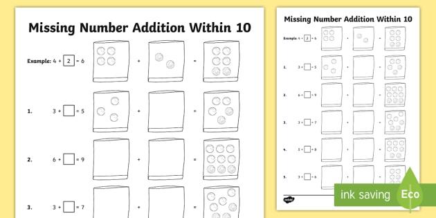 Missing Number Addition Within 10 Worksheet   Worksheet