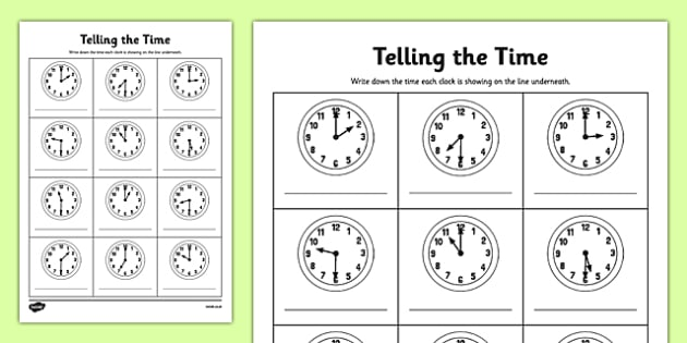 O'clock And Half Past Times Worksheet   Worksheet