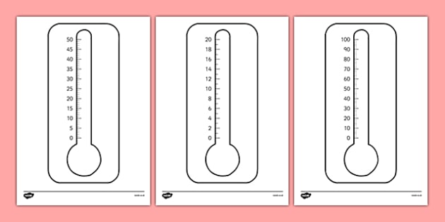 Blank Thermometers Multiples Of 2, 5 And 10