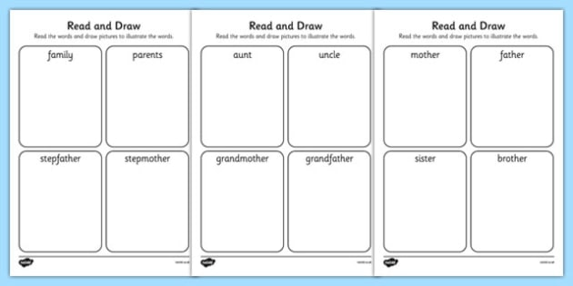 My Family Read And Draw Worksheet