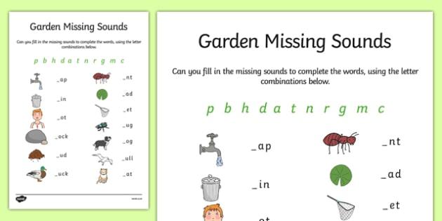Garden Missing Initial Sounds Worksheet   Worksheet