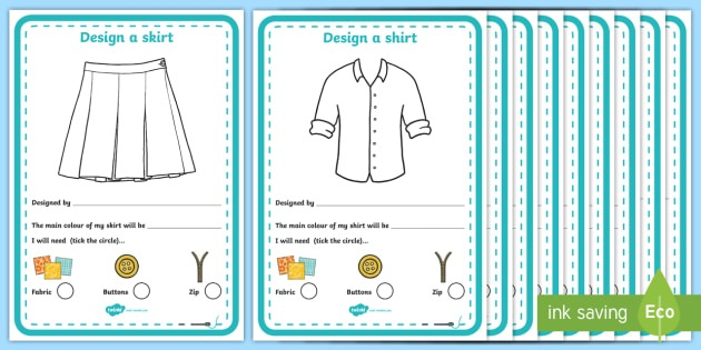 Fashion Design Studio Clothing Design Worksheet   Worksheet