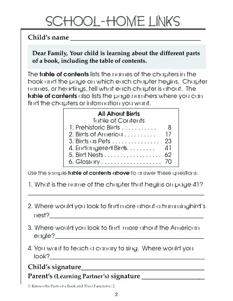Text Features Lesson Plans 3rd Grade Table Of Contents Grade