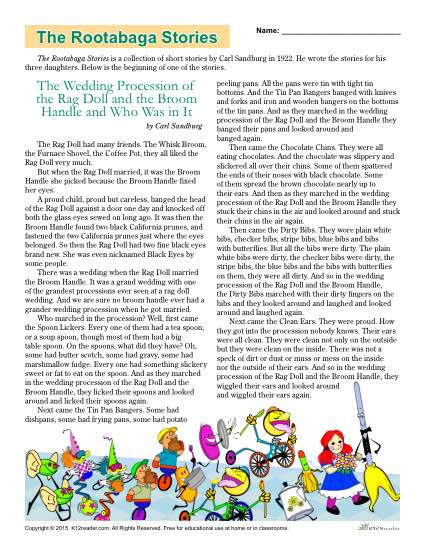 Classic Literature Worksheets  The Rootabaga Stories