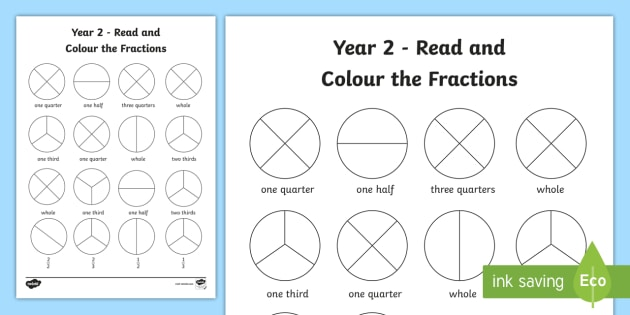 Third Grade Fractions Worksheet Year 2 Read And Colour A Fraction