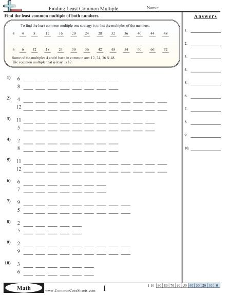 Finding Least Common Multiple Worksheet